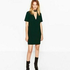 Zara Dark Green Choker Neck Mini Dress